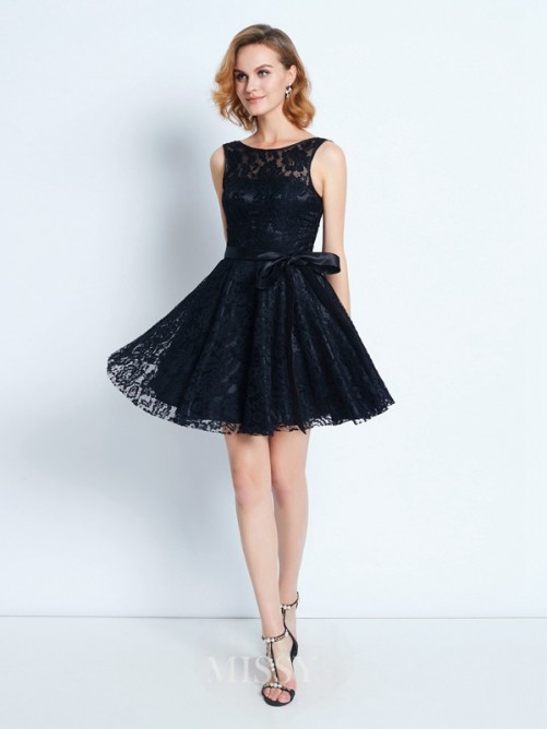 A-Line/Princess Scoop Lace Sleeveless Sash/Ribbon/Belt Short/Mini Dresses