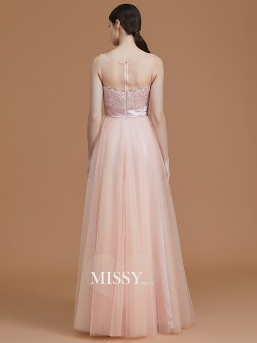 A-Line/Princess Bateau Sleeveless Floor-Length Applique Tulle Bridesmaid Dresses