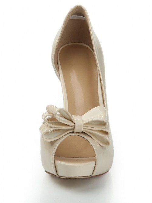Patent Leather Bowknot Peep Toe High Heels