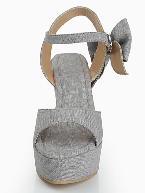 Flock Bowknot Sandals Wedges