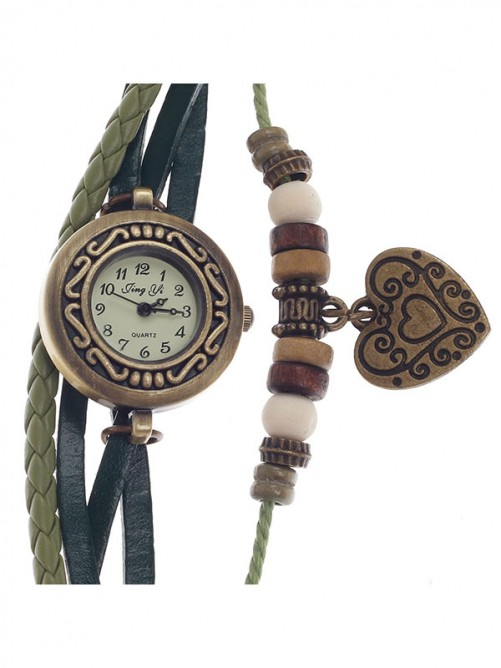 Tingyi Stylish Retro Women's Quartz Wristwatch with PU Leather Ropes Watchband - Green+Bronze+White