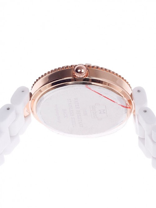 Daybird 3798 Ceramic Band Quartz Women's Wristwatch with Rhinestone - White+Rose Gold