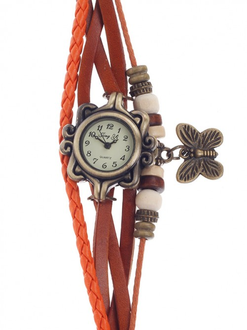 Tingyi Stylish Retro Women's Quartz Wristwatch with PU Leather Ropes Watchband - Orange+Bronze+White