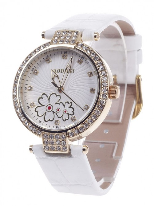 AODASI 4300L Fashionable Women's Quartz Wristwatch with Rhinestone Decoration - White+Golden