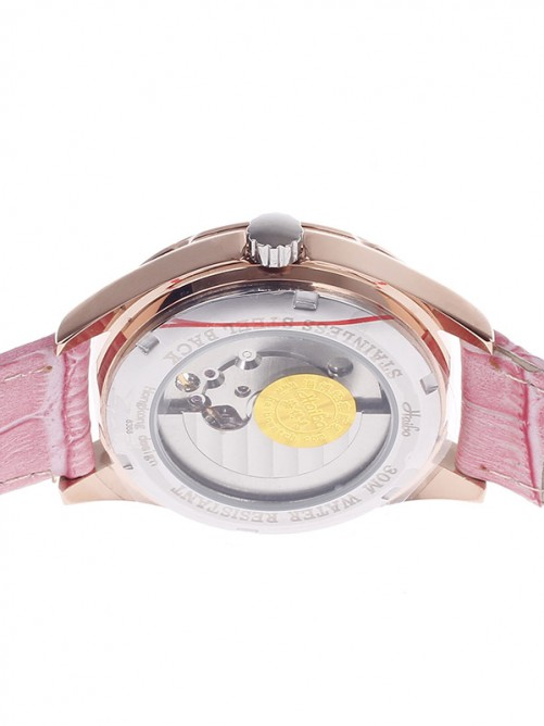Haibo 6368 Stylish Head Layer Cowhide Band Women's Automatic Mechanical Wristwatch - Pink+Golden
