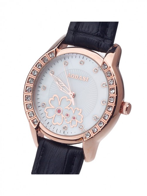 AODASI 4299L Fashionable Women's Quartz Wristwatch with Rhinestone Decoration - Black+Rose Gold