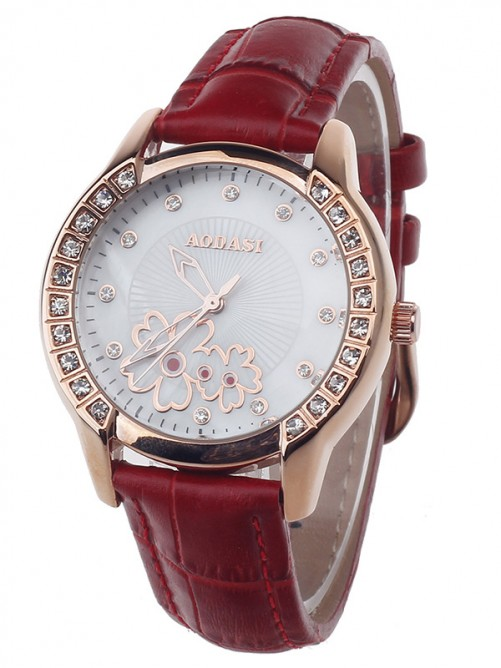 Fashionable AODASI 4299L Women's Quartz Wristwatch with Rhinestone Decoration - Red+Rose Gold