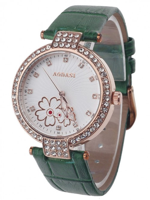 AODASI 4300L Fashionable Women's Quartz Wristwatch with Rhinestone Decoration - Green+Rose Gold