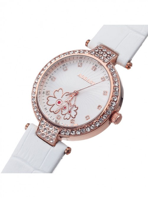 AODASI 4300L Fashionable Women's Quartz Wristwatch with Rhinestone Decoration - White+Rose Gold