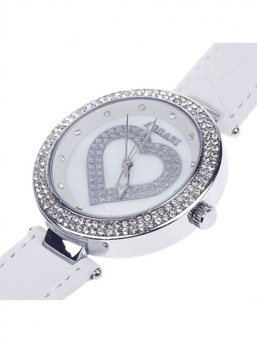 AODASI 4274G Fashion Heart Shape Women's Elegant Quartz Wristwatch with Rhinestone Decoration - White+Silver