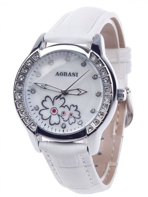 AODASI 4299L Fashionable Women's Quartz Wristwatch with Rhinestone Decoration - White+Silver