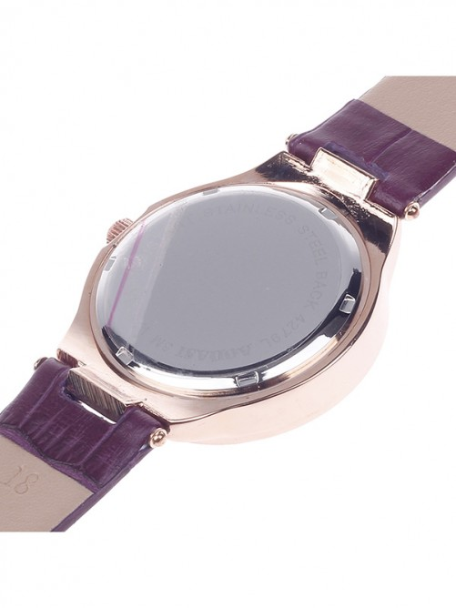 AODASI 4279L Stylish Women's Quartz Wristwatch with Rhinestone Decoration - Purple+Rose Gold