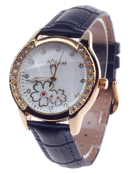AODASI 4299L Fashionable Women's Quartz Wristwatch with Rhinestone Decoration - Deep Blue+Gold