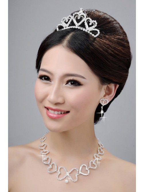 Awesome Alloy Clear Hearts Wedding Headpieces Necklaces Earrings Set