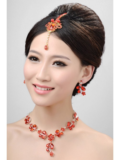Awesome Alloy Pearls Wedding Headpieces Necklaces Earrings Set