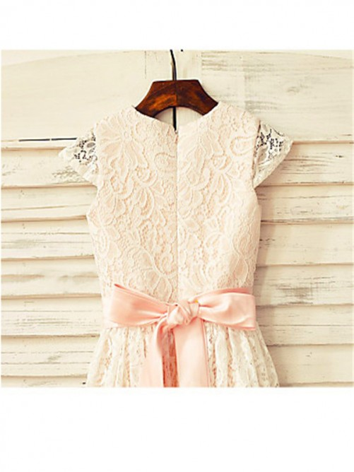 A-line/Princess Scoop Hand-made Flower Short Sleeves Tea-Length Lace Flower Girl Dresses