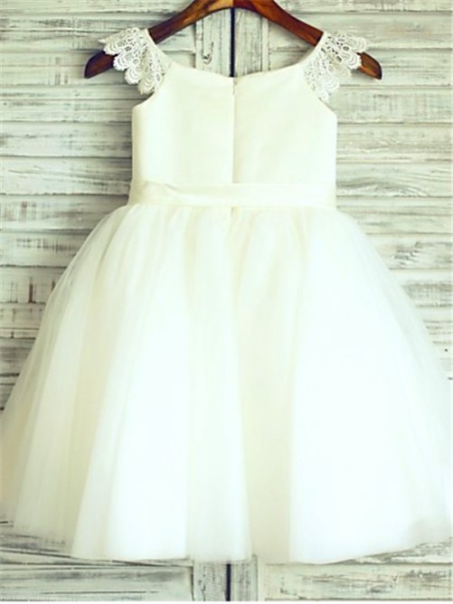 A-line/Princess Sleeveless Scoop Sash/Ribbon/Belt Floor-Length Organza Flower Girl Dresses