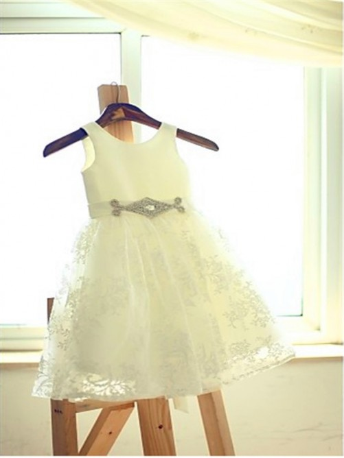 A-line/Princess Scoop Sash/Ribbon/Belt Sleeveless Floor-Length Lace Flower Girl Dresses
