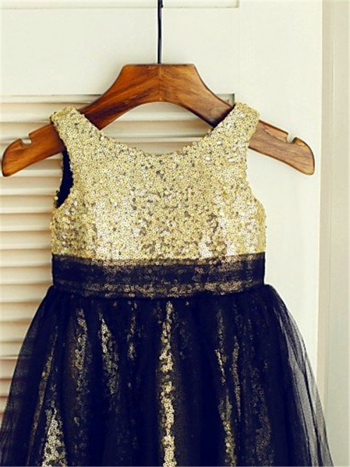 A-line/Princess Scoop Sleeveless Sequin Floor-Length Tulle Flower Girl Dresses