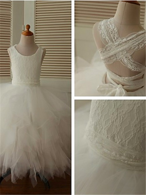 Ball Gown Scoop Sleeveless Lace Ankle-Length Organza Flower Girl Dresses