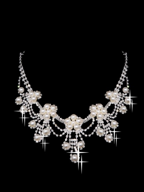 Elegant Alloy Clear Pearls Wedding Headpieces Necklaces Earrings Set