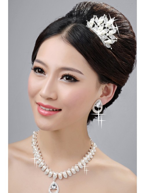 Elegant Pearls Alloy Clear Wedding Headpieces Necklaces Earrings Set