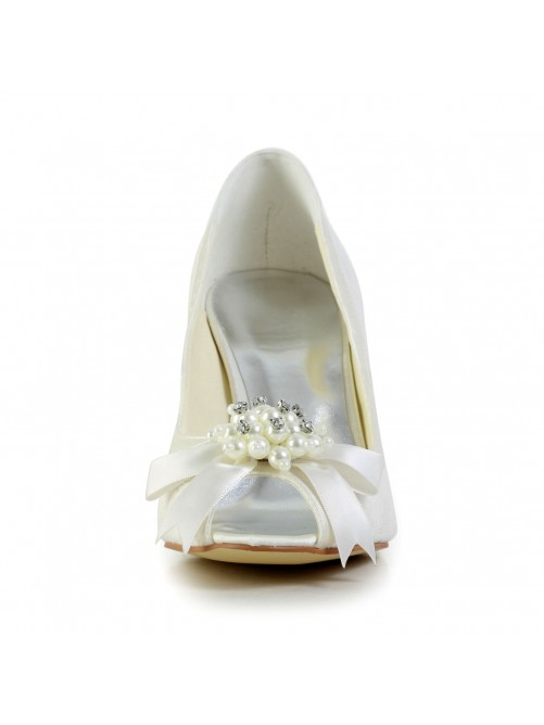Elegant Satin Stiletto Heel Pumps with Imitation Pearl and Bowknot Wedding/Party/Evening Shoes