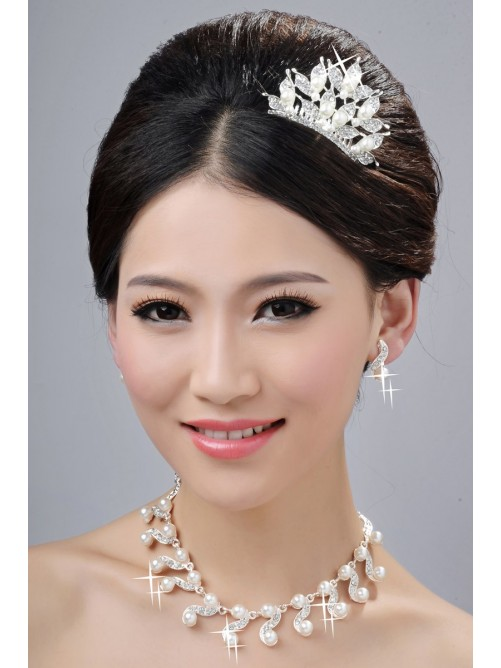 Glamorous Pearls Alloy Clear Wedding Headpieces Necklaces Earrings Set