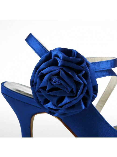 Gorgeous Satin Stiletto Heel Peep Toe With Flower Wedding Shoes