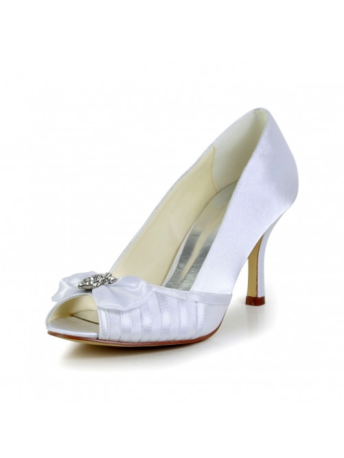 Graceful Bowknot Stiletto Heel Satin Wedding Shoes