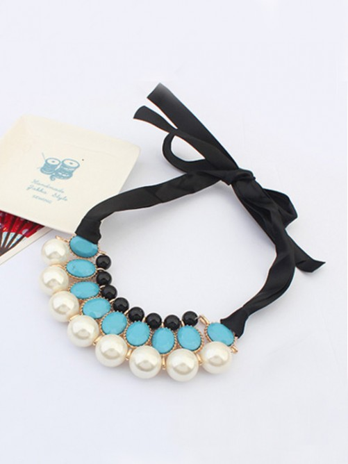 Occident all-match Celebrity Elegant Pearls Ribbons Necklace