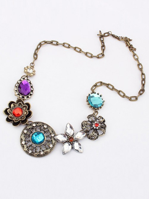 Occident Gorgeous Retro Exquisite Flowers with Necklace
