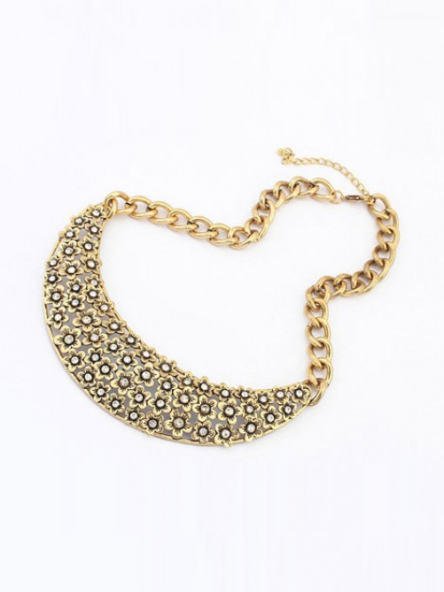 Occident Retro Hollow Plum flower Semi-arc Necklace
