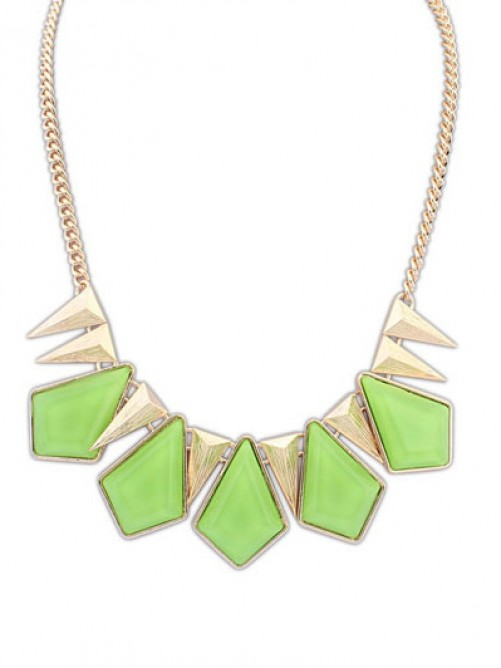 Occident Punk Geometry Gemstone Necklace