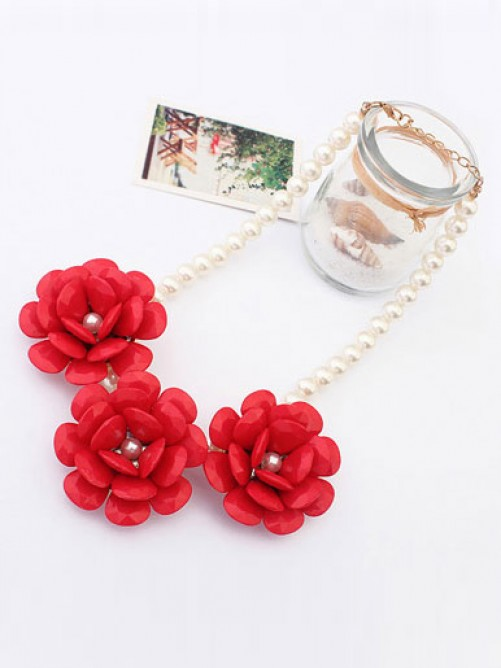 Occident Candy colors Imitation pearls Big Flowers Necklace