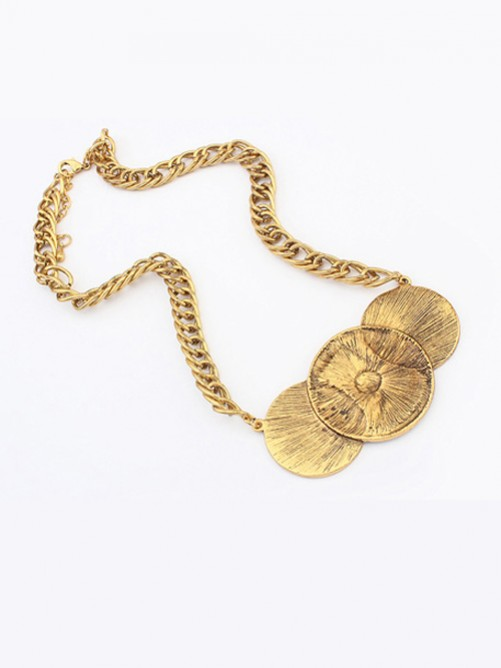 Occident Trendy Punk Stylish Round Plate Necklace J1109800JR
