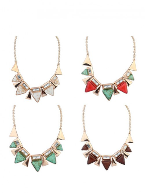 Occident OL Style Geometry Triangle Elegant Necklace J1109846JR