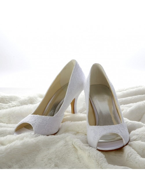 Lace Satin Stiletto Heel Peep Toe Sandals Wedding Shoes