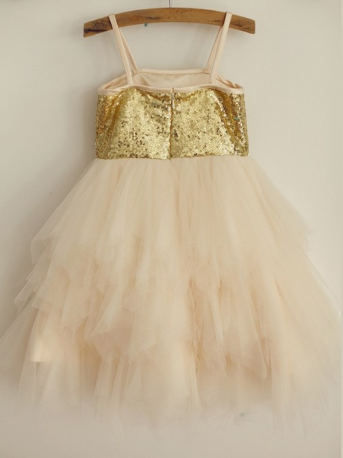 A-Line/Princess Spaghetti Straps Sequin Sleeveless Tulle Knee-Length Flower Girl Dresses