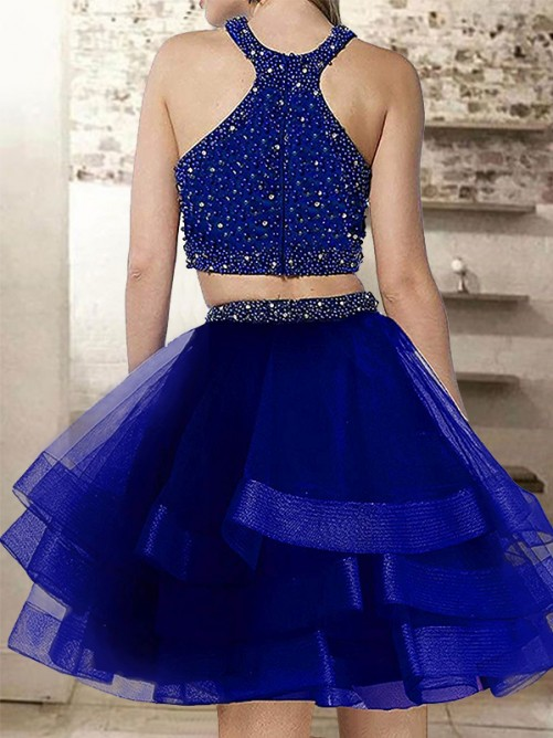 Short/Mini A-Line/Princess Halter Sleeveless Organza Dresses