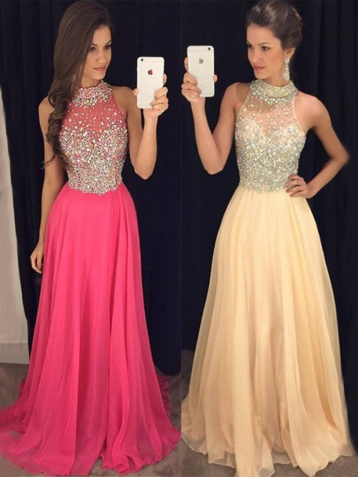 A-Line/Princess Halter Floor-Length Sleeveless Beading Chiffon Dresses