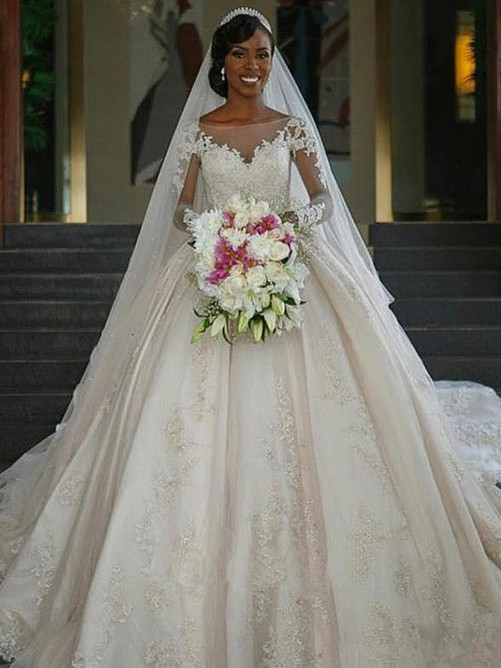 Ball Gown Sweep/Brush Train Long Sleeves Applique Satin Wedding Dresses