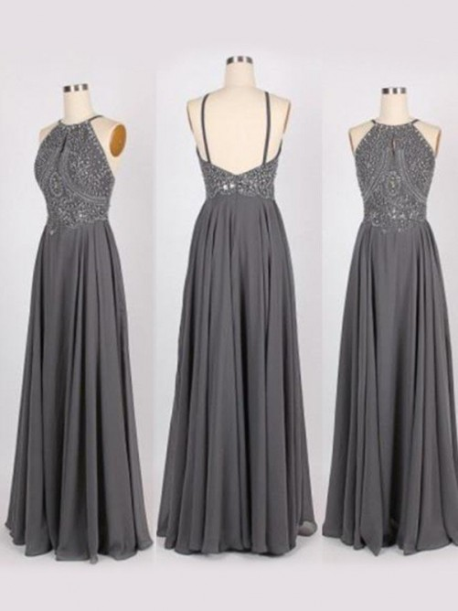 A-Line/Princess Halter Sleeveless Sweep/Brush Train Beading Chiffon Dresses
