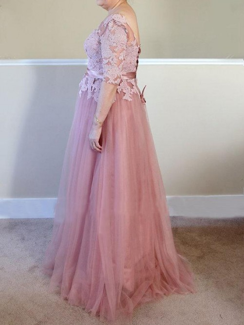 A-Line/Princess Bateau 1/2 Sleeves Applique Floor-Length Tulle Mother Of The Bride Dresses
