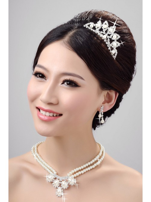 Very Nice Alloy Clear Pearls Wedding Headpieces Necklaces Earrings Set