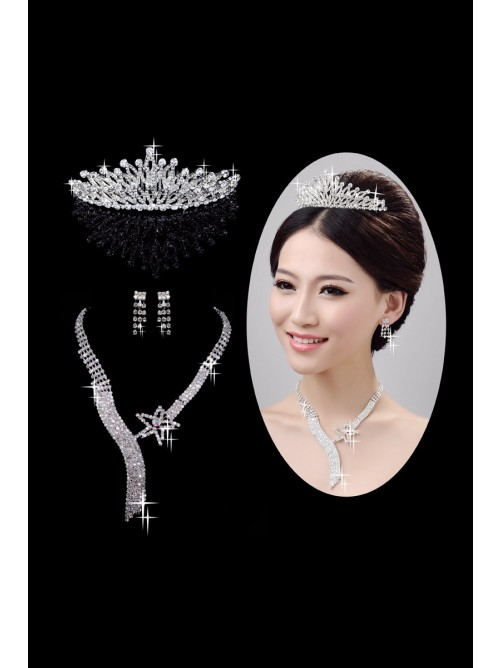 Nice Alloy Clear Wedding Headpieces Necklaces Earrings Set