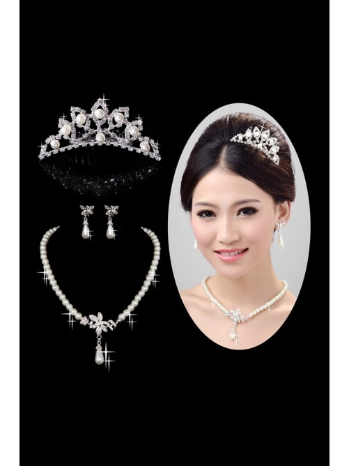 Nice Pearls Alloy Clear Wedding Headpieces Necklaces Earrings Set