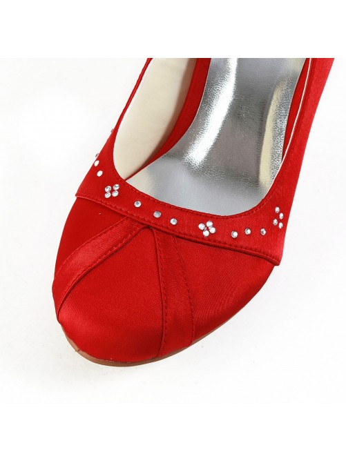 Nice Satin Cone Heel Closed Toe Pumps Shoes With Rhinestone