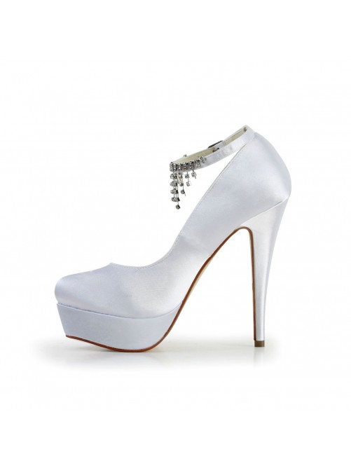 Nice Satin Stiletto Heel Closed Toe Shoes With Rhinestone