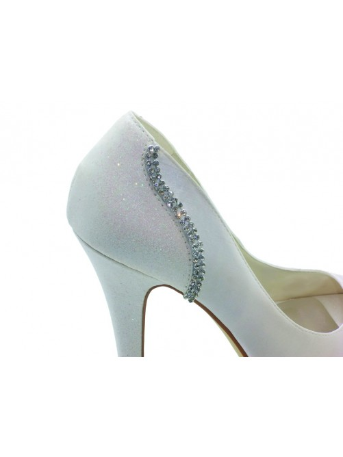 Nice Satin Stiletto Heel Peep Toe Platform Sandals Wedding Shoes With Rhinestone